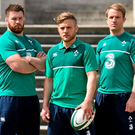 In attendance at the launch of the new Canterbury IRFU Rugby World Cup Training Wear Range are Ireland's Ian Madigan, centre, Sean O'Brien, left, and Luke Fitzgerald. Canterbury, the official kit supplier to the Irish Rugby Football Union, today unveiled the official range of training wear that will be worn by the Irish rugby team throughout the 2015 Rugby World Cup and beyond.