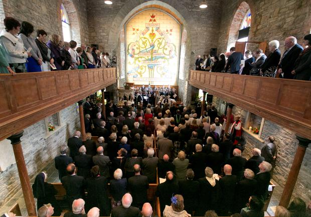 A peace and reconciliation prayer service at St. Columba's Church in Drumcliffe attended by the The Prince of Wales and the Duchess of Cornwall on day two of a four day visit to Ireland. Photo : Colm Mahady/PA Wire