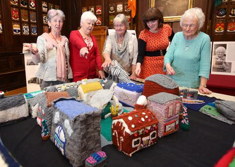 Aine Dempsey, Maureen O'Dwyer, Gemma McKenna, Sadhbh Lawlor and Christina Carlyle look at some of the project's creations. Picture: Damien Eagers