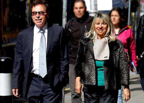 Former Justice Minister Alan Shatter and his wife Carol arriving at the High Court for the decision in his appeal yesterday. Photo: Courtpix