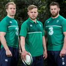 Luke Fitzgerald, Ian Madigan and Sean O'Brien at yesterday's launch of the new Ireland rugby jersey, supplied by Canterbury