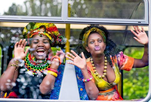 Yolandah Nyathi and Justine Nantale pictured on the Africa day bus as The free family festival to celebrate Africa Day will take place in the grounds of Farmleigh in Dublins Phoenix Park this Sunday