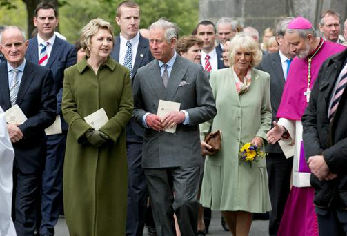 Former President Mary McAleese and her husband Martin with Prince Charles and the Duchess of York Camilla after the peace and reconciliation service at St Columba's Church in Drumcliffe yesterday. Photo: Chris Bellew