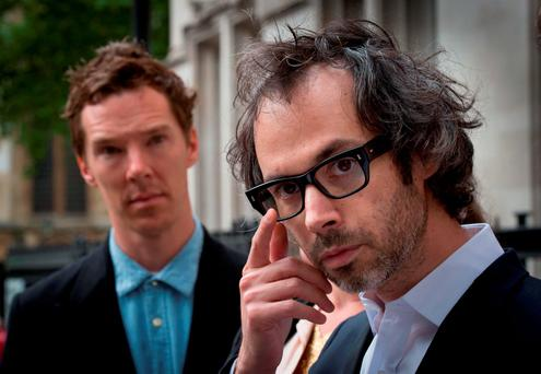 Concert pianist James Rhodes (right) leaves the Supreme Court in London with actor Benedict Cumberbatch after winning the right to publish an autobiographical book giving detail of sexual abuse he suffered as a child. Photo: PA