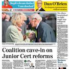 The front page of the Irish Independent