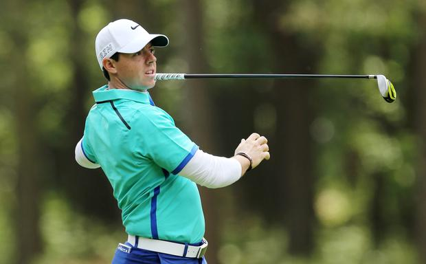 Rory McIlroy in action during the first round