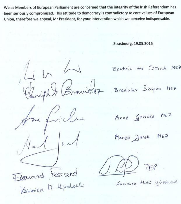 Each of the signatories has campaigned against gay rights in the European Parliament