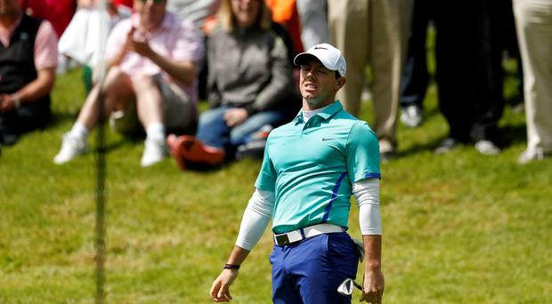 Rory McIlroy looks dejected during the first round of the BMW PGA Championship
