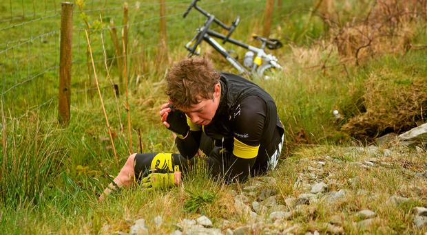 Michael Cumming (JLT Condor) after a crash during stage five of An Post Rás from Newport to Ballina