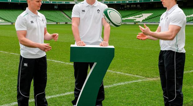 Matthew D'Arcy, Tom Daly and Cian Aherne at the launch of the Ireland Men's Rugby Sevens Squad