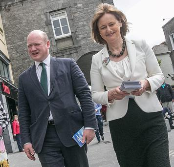 Fine Gael by-election candidate David Fitzgerald on the canvass in the main street of Kilkenny yesterday with Deirdre Clune MEP. Photo: Pat Moore