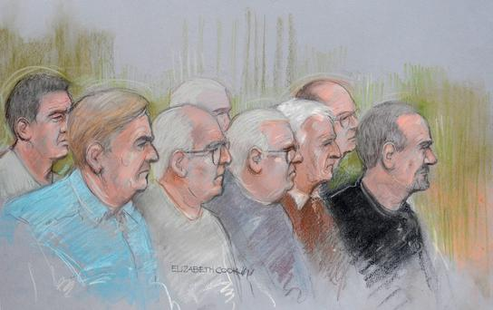 Court artist sketch by Elizabeth Cook of (front row left to right) Paul Reeder, William Lincoln, John Collins, Brian Reeder and Hugh Doyle, (back row left to right) Daniel Jones, Terry Perkins (obscured) and Carl Wood making their first appearance at Westminster Magistrates Court in London where they are accused of the Hatton Garden jewellery raid