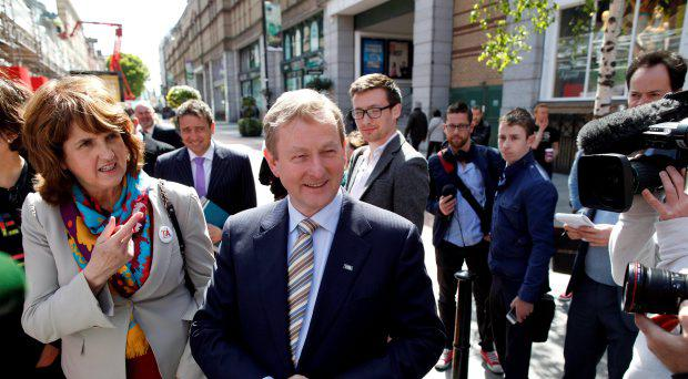Enda Kenny arrives to meet with members of the Yes Equality campaign during a photo call in Dublin, Ireland