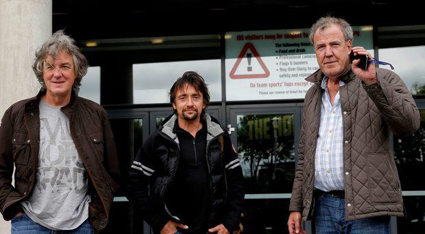 (Left - right) James May, Richard Hammond and Jeremy Clarkson arrive at the Odyssey Arena, Belfast, ahead of the opening Clarkson, Hammond & May Live show
