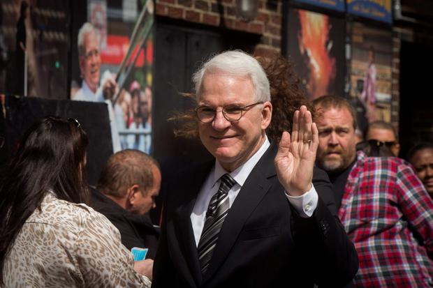 Comedian Steve Martin arrives at the Ed Sullivan Theater in Manhattan to take part in the taping of the final edition of