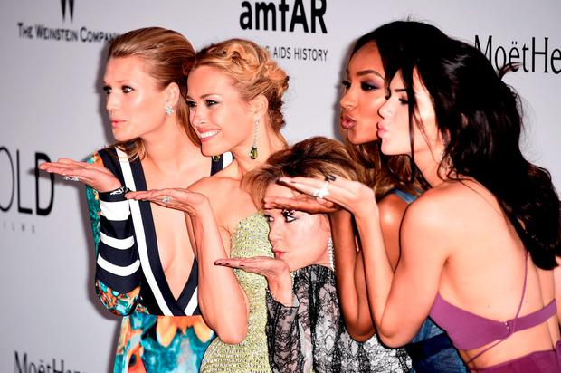 (L-R) Models Toni Garrn, Petra Nemcova, Caroline Scheufele of Chopard, models Jourdan Dunn and Kendall Jenner attend amfAR's 22nd Cinema Against AIDS Gala, Presented By Bold Films And Harry Winston at Hotel du Cap-Eden-Roc on May 21, 2015 in Cap d'Antibes, France. (Photo by Ian Gavan/Getty Images)