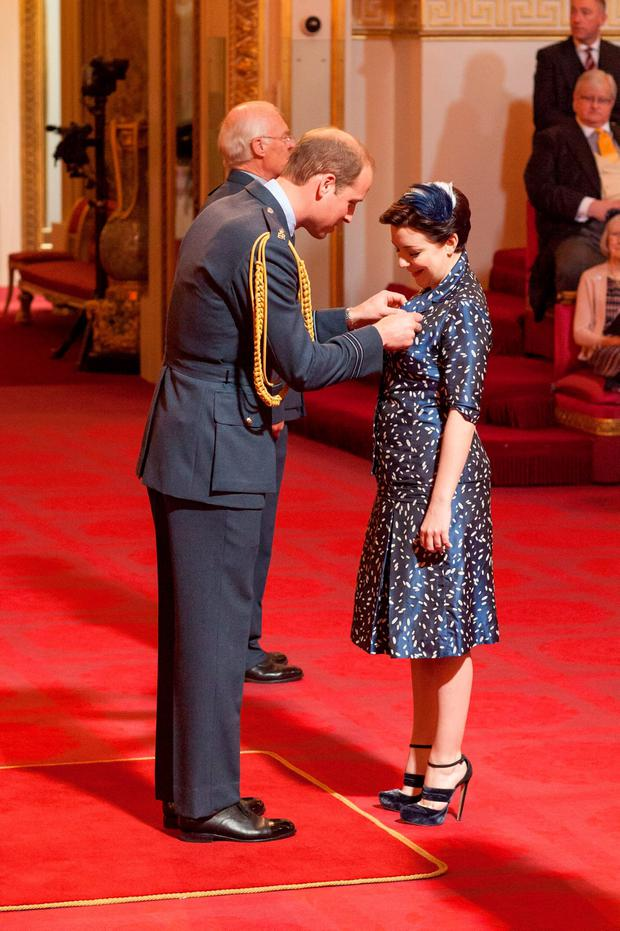 Sheridan Smith is made an OBE (Officer of the Order of the British Empire) by Prince William at an investiture ceremony at Buckingham Palace in London