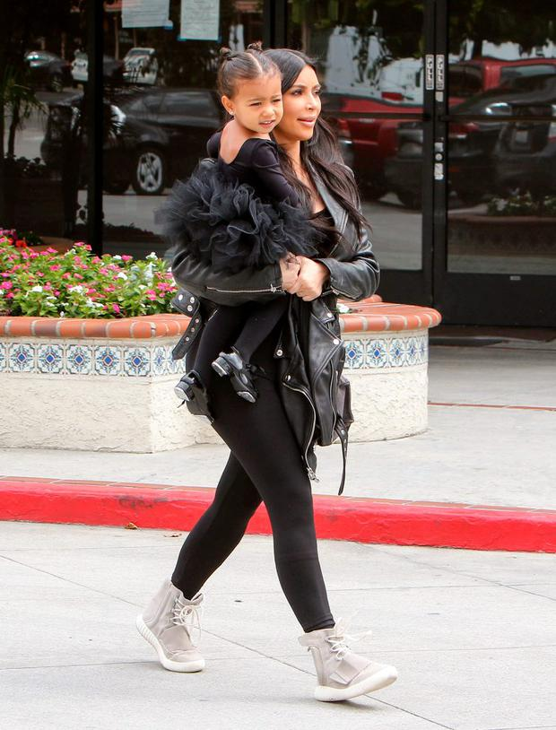 Kim Kardashian and North West are seen on May 21, 2015 in Los Angeles, California. (Photo by Bauer-Griffin/GC Images)