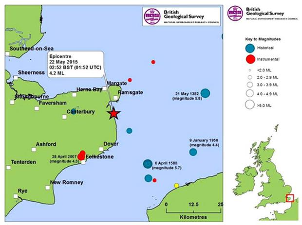 British Geological Survey seismicity map of the epicentre of the earthquake measuring magnitude 4.2 which hit Kent overnight (British Geological Survey/PA Wire)