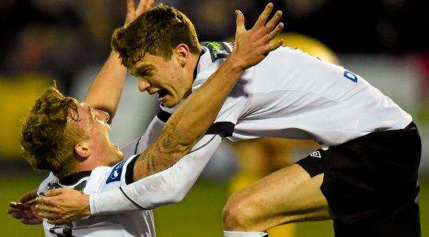 John Mountney, Dundalk, celebrates after scoring his side's first goal with team-mate Sean Gannon, right