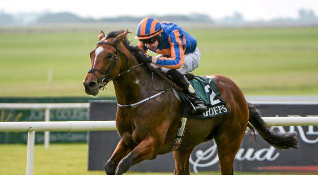 Gleneagles, with Joseph O'Brien up, on their way to winning the Goffs Vincent O'Brien National Stakes. Curragh Racecourse, The Curragh, Co. Kildare