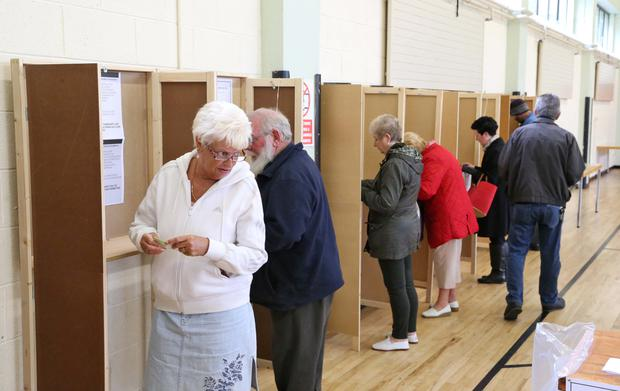 Voters pictured at the Polling Station this morning at St. Joseph's School, Navan Road, Dublin Picture Colin Keegan, Collins Dublin.