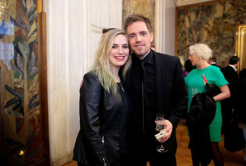 Molly Sterling of Ireland poses with Kjetil Morland of Norway during the 'Pop meets Opera' Matinee at the Vienna State Opera in Vienna, May 17, 2015.