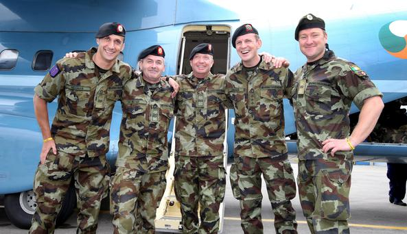 Members of a Irish Defence Forces medical team who returned after their four month deployment to Sierra Leone Credit: Frank Mc Grath