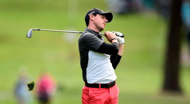 Northern Ireland's Rory McIlroy reacts during day two of the 2015 BMW PGA Championship at the Wentworth Golf Club, Surrey.