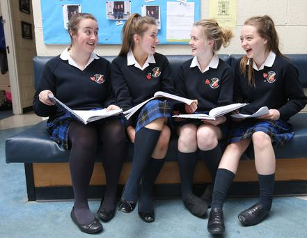 Leaving Certificate students from St Raphaela's Secondary School, in Stillorgan, Dublin, left to right: Kate Hanniffy, Laoise Magee, Ana Cassidy and Amy Kehoe. Photo: Damien Eagers