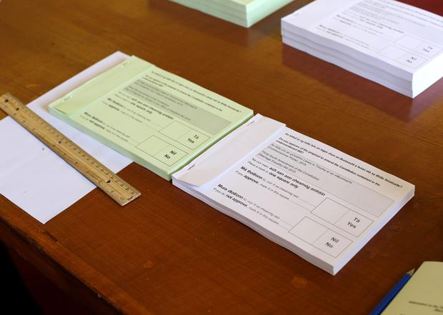 the referendums on same-sex marriage and reducing the age of presidential candidates papers at St Marys Hospital in the Phoenix Park. Picture credit; Damien Eagers 22/5/2015