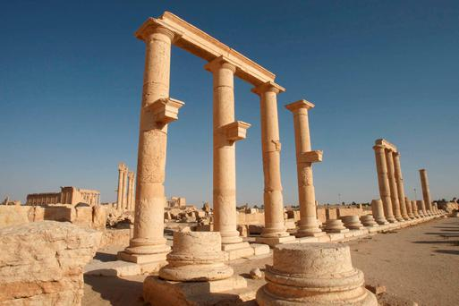 Columns are pictured in the historical city of Palmyra. Islamic State fighters in Syria have entered the ancient ruins of Palmyra after taking complete control of the central city, but there are no reports so far of any destruction of antiquities. REUTERS/Mohamed Azakir