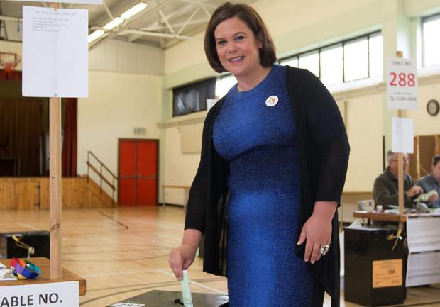 Mary Lou McDonald voting yesterday