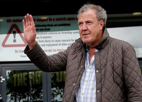 Jeremy Clarkson arrives at the Odyssey Arena, Belfast, ahead of the opening Clarkson, Hammond & May Live show. PRESS ASSOCIATION Photo. Picture date: Thursday May 21, 2015. See PA story SHOWBIZ Clarkson. Photo credit should read: Brian Lawless/PA Wire