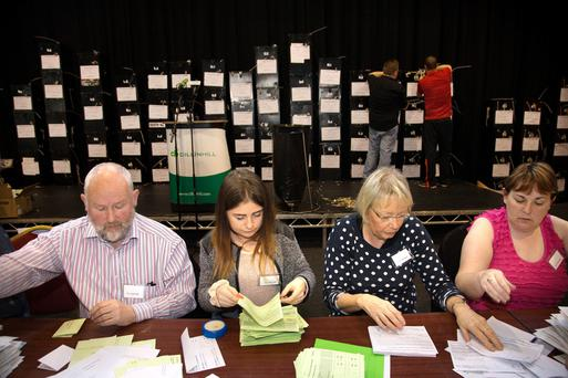 Counting gets under way for the Kilkenny by election in Kilkenny this morning. Photo: Tony Gavin