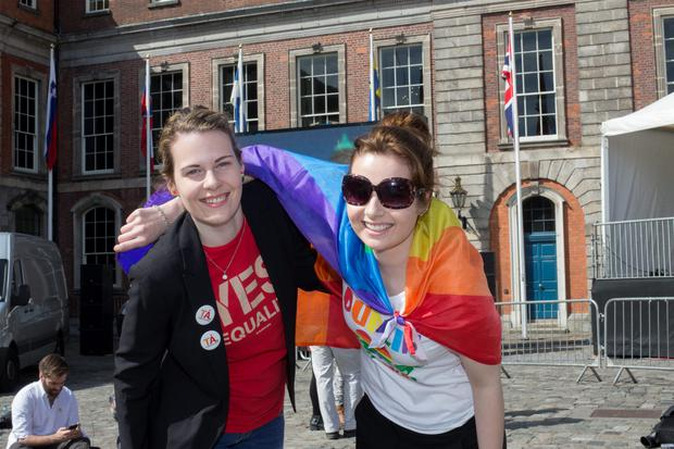 Sisters Rebecca and Rachel Doyle from Wexford waiting for the results of same-sex marriage referendum at Dublin Castle. Pic:Mark Condren