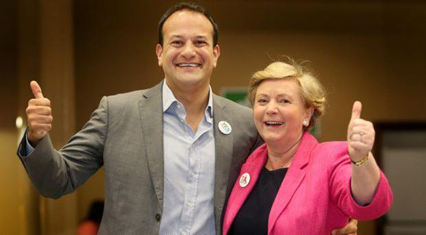 Ministers Leo Varadkar and Frances Fitzgerald pictured at the count centre in City West. Picture; Gerry Mooney