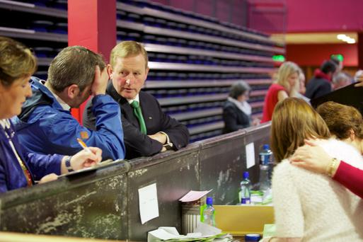 An Taoiseach Enda Kenny at the count centre in Castlebar, Co. Mayo as counting got underway in the marriage referendum. Photo : Keith Heneghan