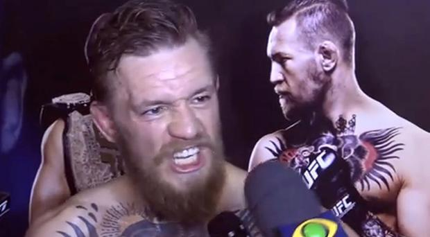 Conor McGregor reacts to the question