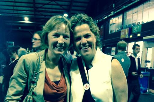 Paula Fagan and partner Denise Charlton at the referendum count in the RDS