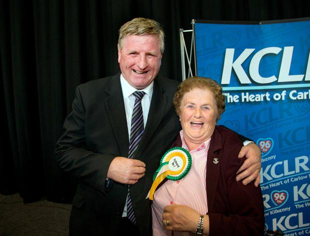 Fianna Fail candidate and poll leader Bobby Aylward with supporter Margaret Haberlan at the count for the Kilkenny by election and referendum in Cillin Hill, Kilkenny. Photo: Tony Gavin