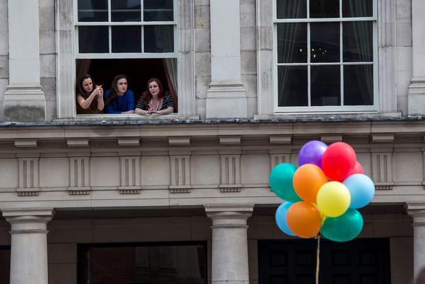 Crowds gather for the reults of same-sex marriage referendum at Dublin Castle. Pic:Mark Condren 23.5.2015