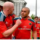 23 May 2015; Munster's Paul O'Connell checks with concussed teammate Simon Zebo after the game. Guinness PRO12 Play-Off, Munster v Ospreys. Thomond Park, Limerick. Picture credit: Brendan Moran / SPORTSFILE