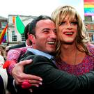 'Panti Bliss' aka Rory O'Neill with John Lyons TD at the Central Count Centre in Dublin Castle, Dublin, after Zappone proposed live on TV as votes are continued to be counted in the referendum on same-sex marriage. Brian Lawless/PA Wire