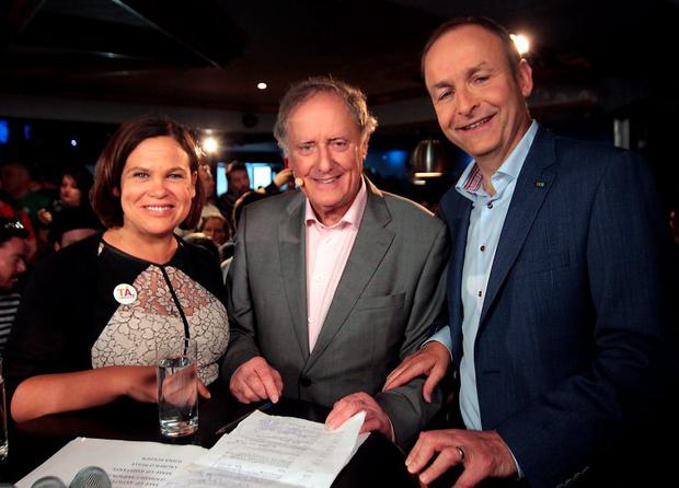 Mary Lou McDonald ,Vincent Browne and Micheal Martin at Tv3's Vincent Browne Special Referendum Results Show from the George Dublin Pictures:Brian McEvoy