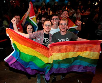 Celebrations at Tv3's Vincent Browne Special Referendum Results Show from the George Dublin