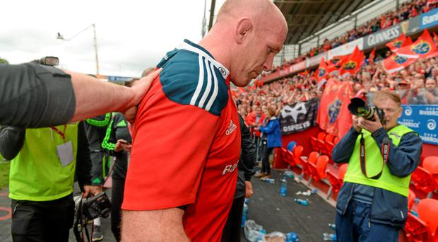23 May 2015; Paul O'Connell, Munster, leaves the pitch after the game. Guinness PRO12 Play-Off, Munster v Ospreys. Thomond Park, Limerick. Picture credit: Brendan Moran / SPORTSFILE