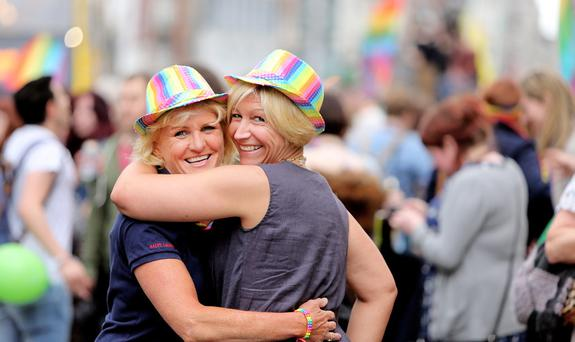 Yvonne Naughton and Nicole Priebel pictured celebrating the yEs result. Picture; GERRY MOONEY. 23/5/15