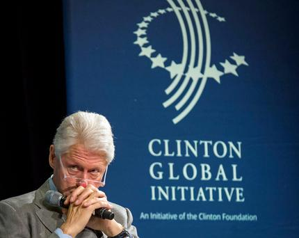 """Bill Clinton's foundation was paid between """"$500,001 to $1m"""" for giving a speech to the JP McManus funded All Ireland Scholarships group in Limerick (REUTERS/Brendan McDermid)"""
