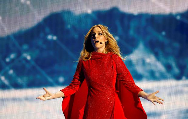 Singer Edurne representing Spain performs the song